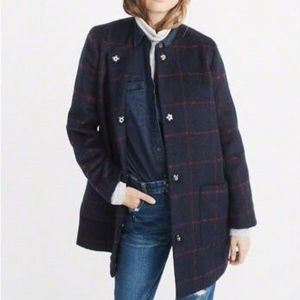 Ambercrombie & Fitch Collarless Wool Blend Coat